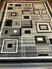 Modern Aprox 9x7FT 200cmX270cm New Rug Woven Blocks Silver/Black/Cream XXL Rugs